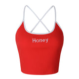 Crop Top  Honey Letter Embroidery Strap TankThegirlsoutfits