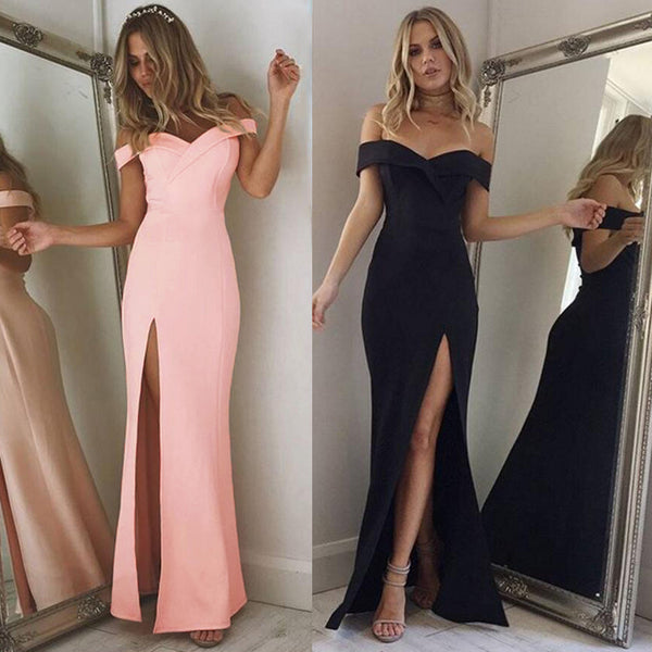 Off Shoulder Sexy Slash Neck long Dress - THEGIRLSOUTFITS