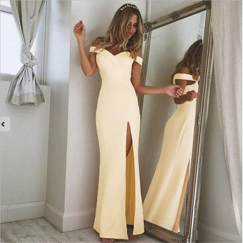 Image of Off Shoulder Sexy Slash Neck long DressThegirlsoutfits