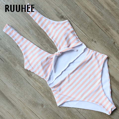 Image of One Piece Swimsuit Striped BodysuitThegirlsoutfits