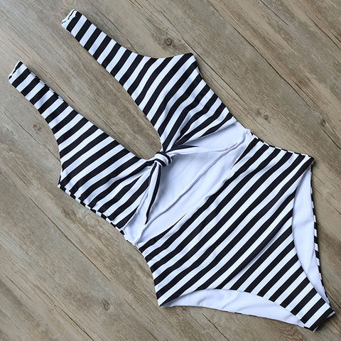 One Piece Swimsuit Striped BodysuitThegirlsoutfits
