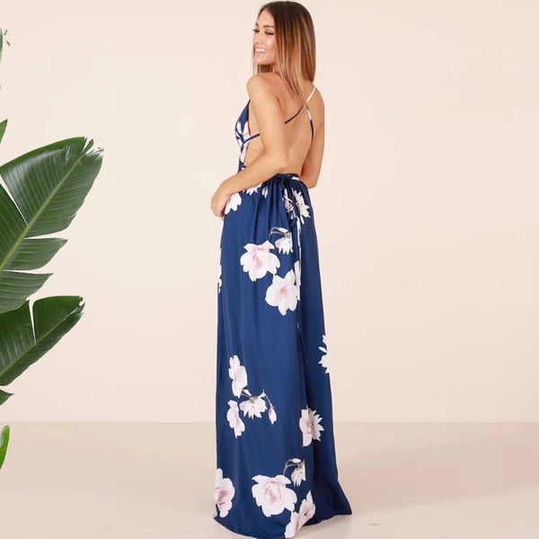 Floral Print Strap Maxi Dress Thigh Split Backless V Neck - THEGIRLSOUTFITS