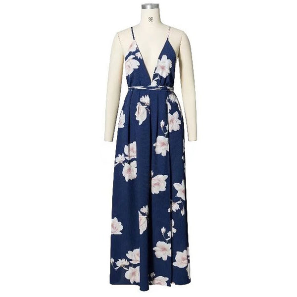 Floral Print Strap Maxi Dress Thigh Split Backless V NeckThegirlsoutfits