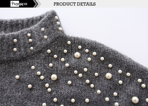 Pearl Beaded Rib Knit   Pullover - THEGIRLSOUTFITS
