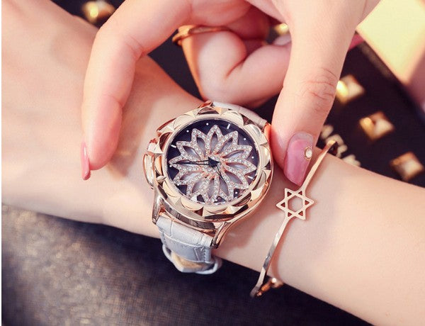 Rhinestone Rotation Dress Watch - THEGIRLSOUTFITS