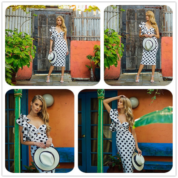 Backless Asymmetrical   Polka Dot Dress - THEGIRLSOUTFITS