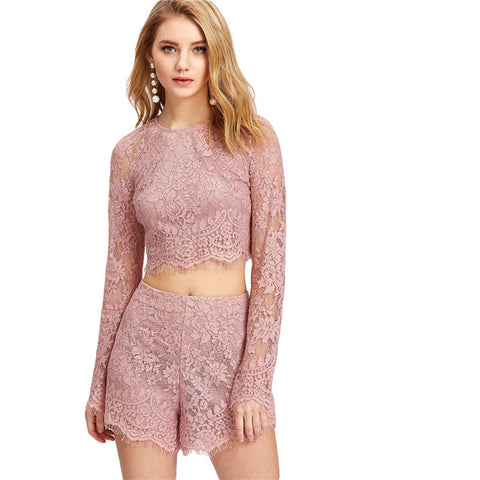 Lace Crop Top With Shorts  2 Pieces SetsThegirlsoutfits