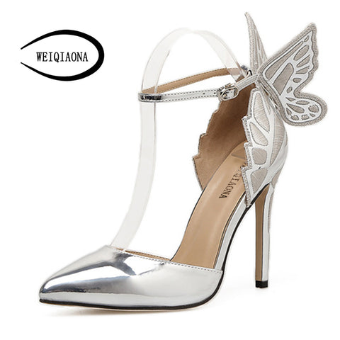 Image of Butterfly Heels Sandals Pointed Thin High HeelsThegirlsoutfits