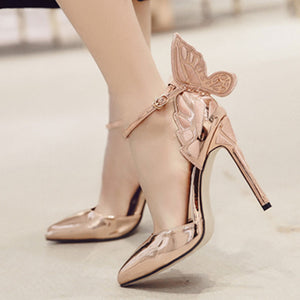 Butterfly Heels Sandals Pointed Thin High Heels