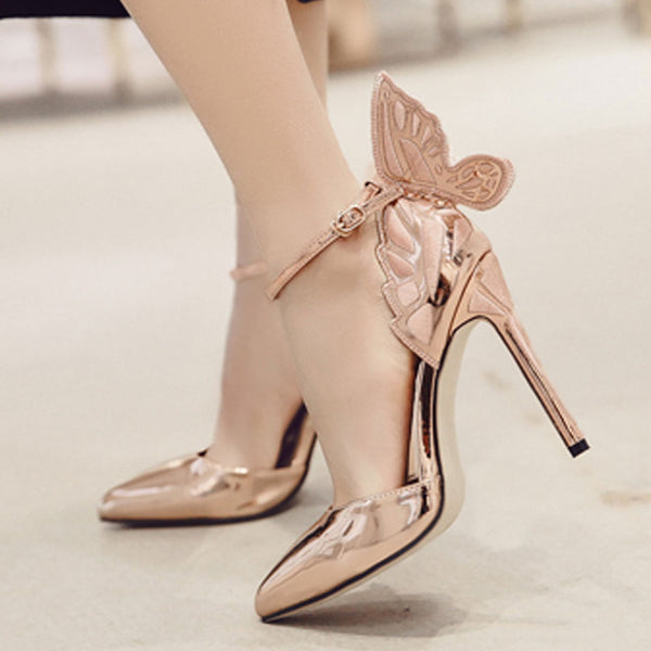 Butterfly Heels Sandals Pointed Thin High Heels - THEGIRLSOUTFITS