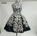 A-line white and black prom dressThegirlsoutfits