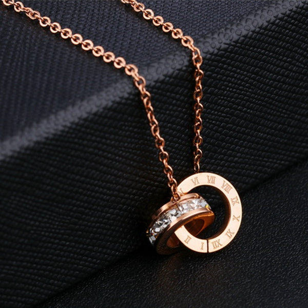 Roman Numerals Necklace Double Circle - THEGIRLSOUTFITS
