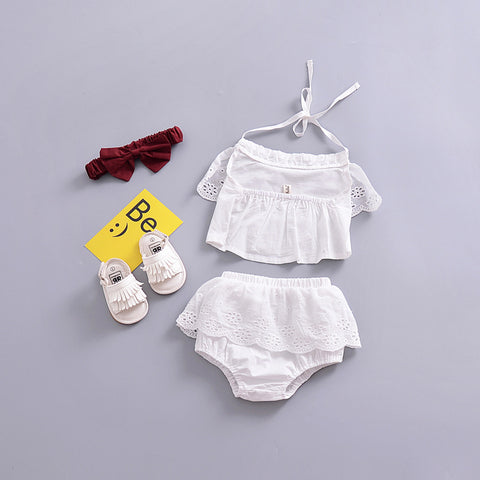 Backless Solid White Sling 2 pcThegirlsoutfits