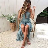 High Split Halter Vintage PartyThegirlsoutfits