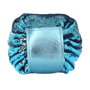 Solid Color Portable Sequins Folding Cosmetic Bag
