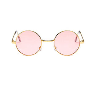 Round Sunglasses Women Vintage Metal Frame