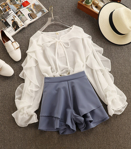 Sweet Chiffon Shirt Blouse + High Waist Shorts Two PieceThegirlsoutfits