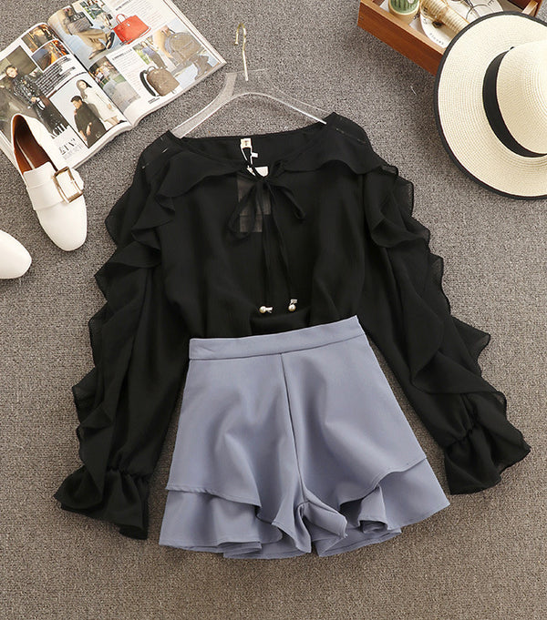 Sweet Chiffon Shirt Blouse + High Waist Shorts Two Piece - THEGIRLSOUTFITS
