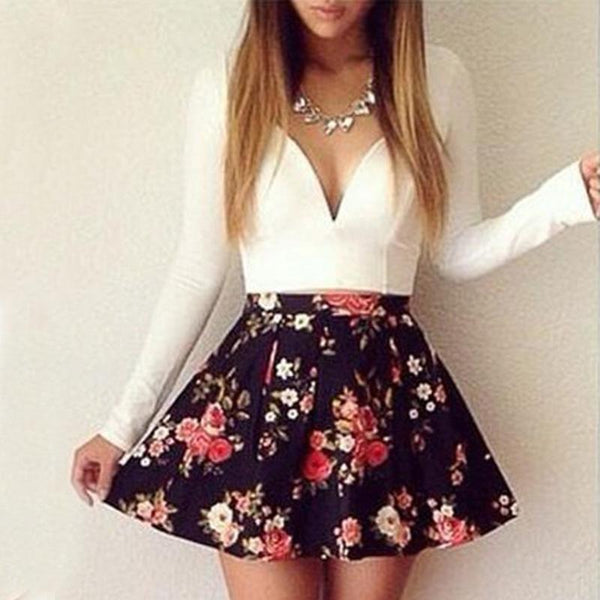 V-neck Long-sleeved Low-cut Floral Mini Dress - THEGIRLSOUTFITS