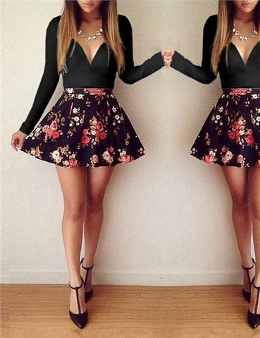 Image of V-neck Long-sleeved Low-cut Floral Mini DressThegirlsoutfits