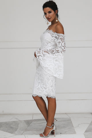 Image of Off shoulder lace women dress robe Flare sleeveThegirlsoutfits