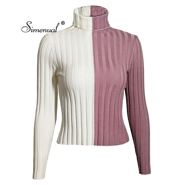 Patchwork women's turtleneck sweatersThegirlsoutfits