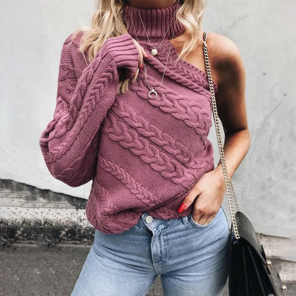 Turtleneck one shoulder knitted sweater - THEGIRLSOUTFITS