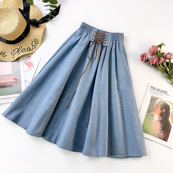 Lace-up High Waist Denim Skirt - THEGIRLSOUTFITS
