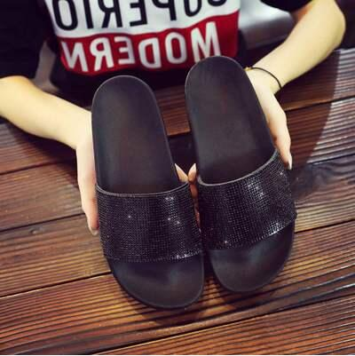 Bling Bling Crystal Flat Outdoor Slippers - THEGIRLSOUTFITS