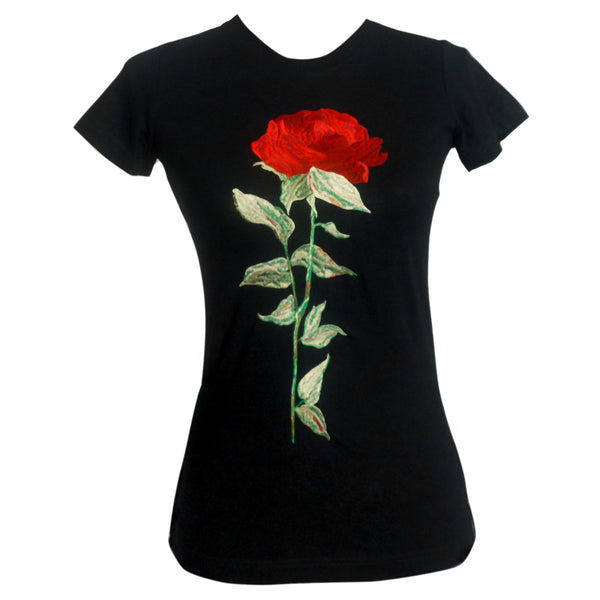Embroidered Designer  Rose T shirt - THEGIRLSOUTFITS