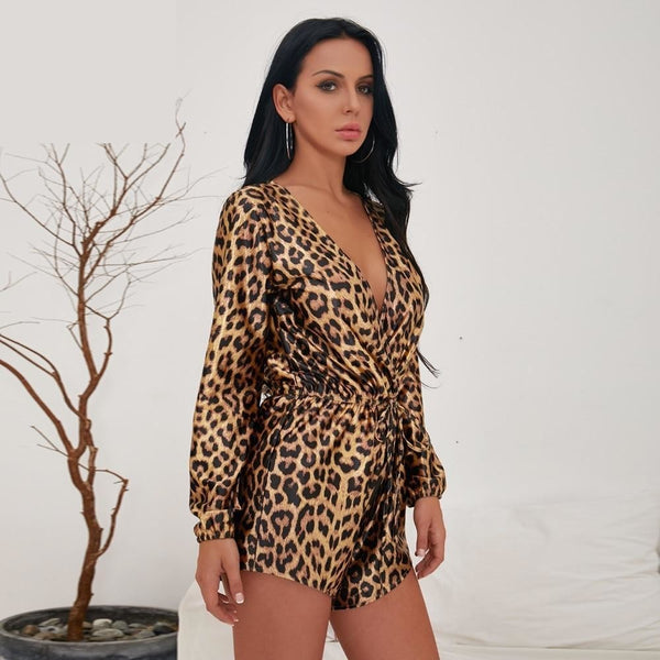 Long Sleeve Rompers Leopard Print - THEGIRLSOUTFITS