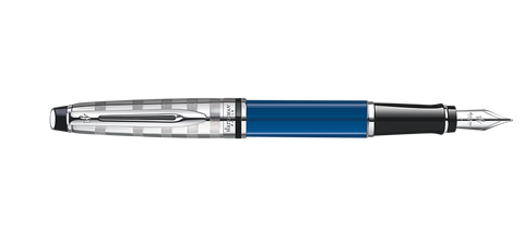 Waterman Expert Deluxe Blue W/Silver Cap Fountain Pen ST
