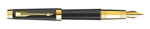 Parker Premier Black Lacquer W/Gold Trim Fountain Pen