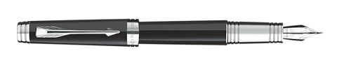 Parker Premier Black Lacquer W/Silver Trim Fountain Pen