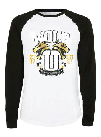 Raglan: Wolf U - White/Black/Gold