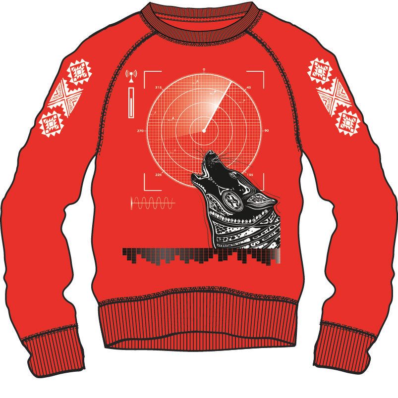 Sweat Shirt: Aztec - Red/Black/White