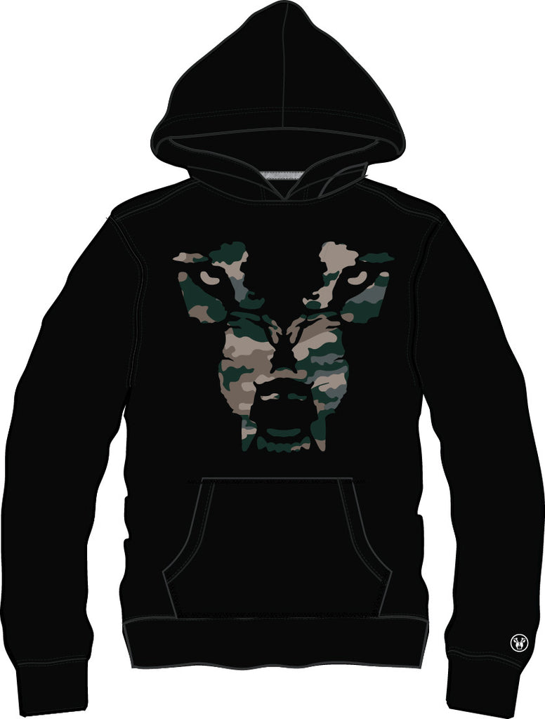 Hoodie: Wolf Face - Black/Camo