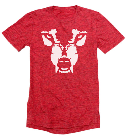 T-Shirt: Wolf Face - Red/Wht Elogated