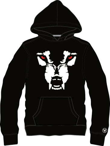 Hoodie: Wolf Face - Black/White Face with Red Eyes