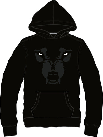 Hoodie Thin: Wolf Face - Black/Black/White Eyes
