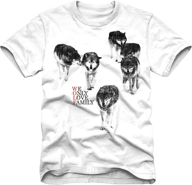 T-Shirt: Wolf Family - White/Black