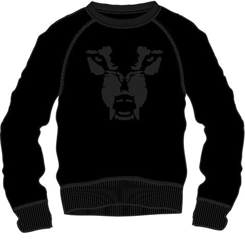 Sweat Shirt: Wolf Face - Black/Black
