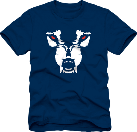 T-Shirt: Wolf Face - Navy/Red