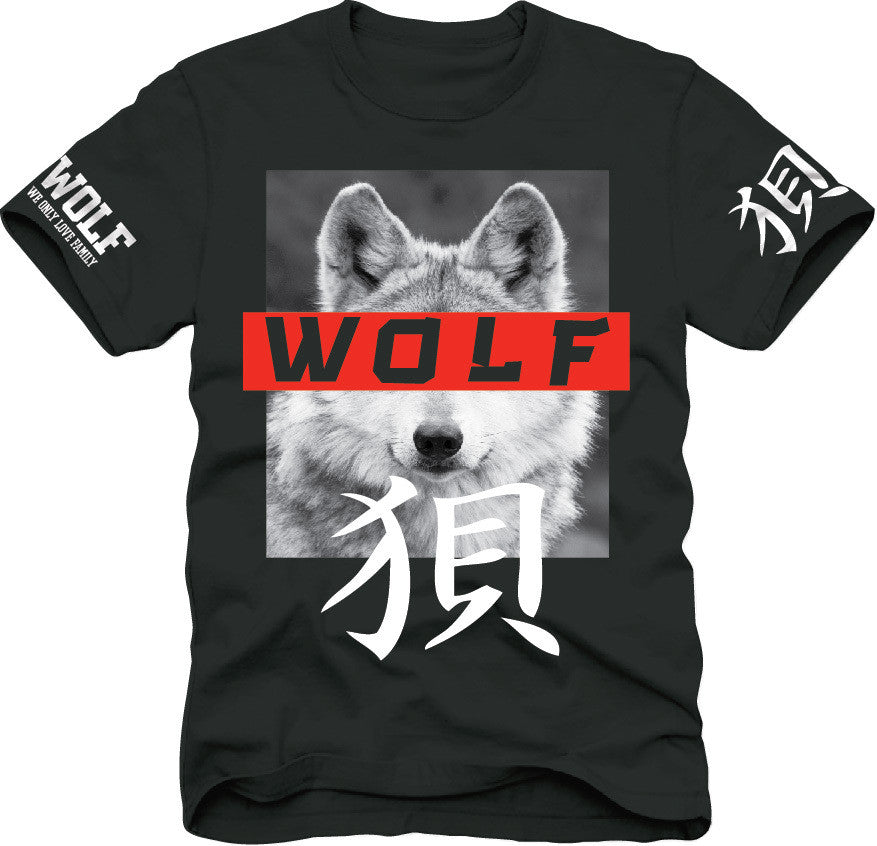 T-Shirt: Wolf - Japanese Blk/Wht/Red