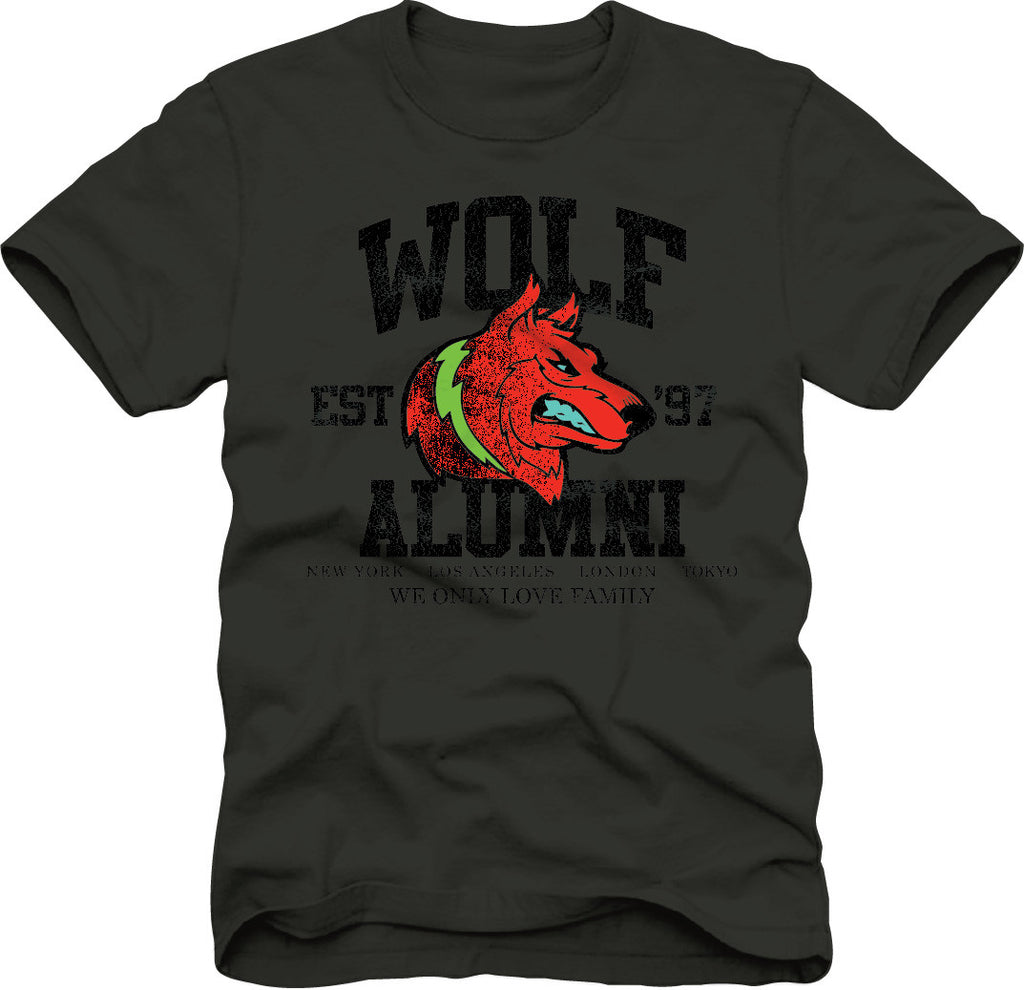 T-Shirt: Wolf Alumni - Black/Red/Ice Blue/Green