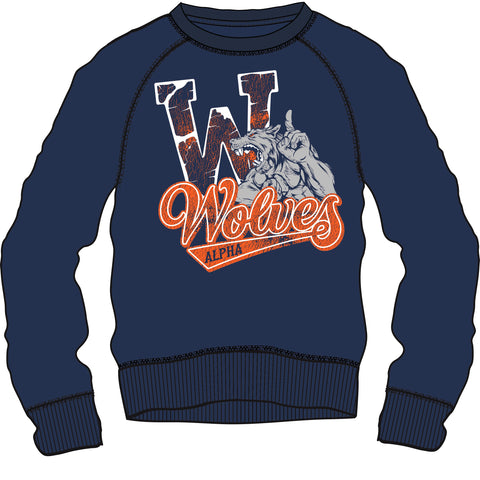 Sweat Shirt: Alfa Wolves - Blue/Grey/Orange