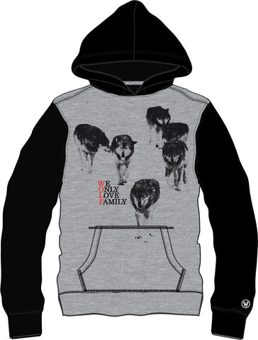 Hoodie Heavy Front Zip (Female): Wolf Face - Green/Pink Eyes