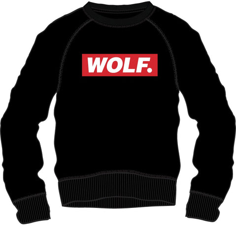 Sweat Shirt: Wolf. - Black/Red/White