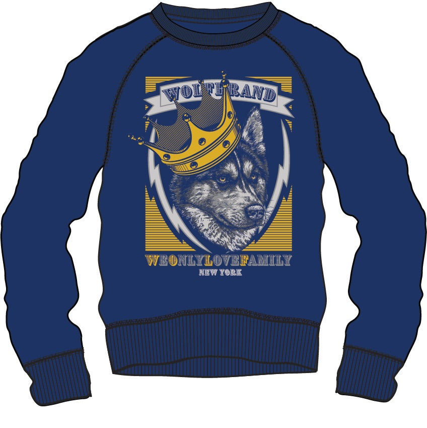 Sweat Shirt: King Wolf - Blue/Grey/Orange