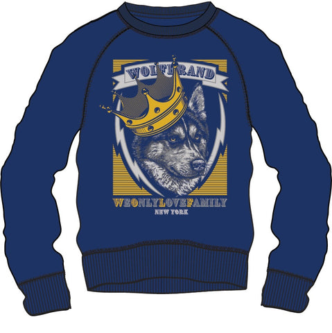 Sweat Shirt: Wolf U - Blue/Grey/White
